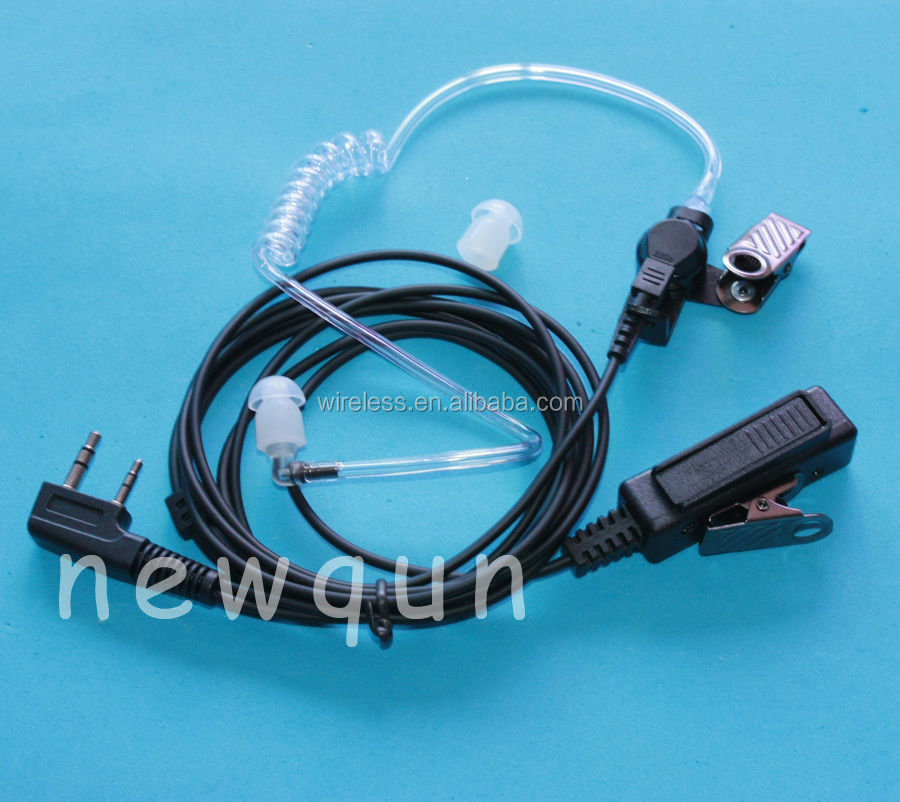 2 Pin 2 Wire Surveillance Tubes Earphone Headset Earpiece for Kenwood Radios
