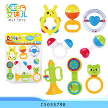 Funny baby toys hot selling plastic grab and spin baby rattle