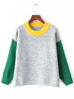 Sweaters Tops fashion women christmas latest design Colour-block Round Neck Loose Knitwear