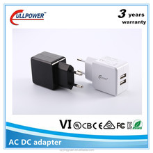 UL FCC CE us eu wall mounted 5v2.1a 2 usb port mobile travel charger