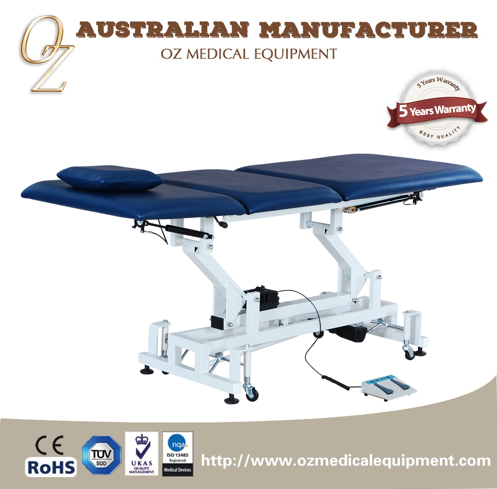 Electric adjustable height shiatsu massage table
