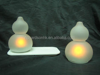 Rechargeable glass Calabash shape LED candles