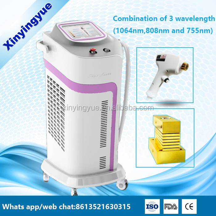 2016 Newest 755 808 1064nm combination diode laser hair removal machine