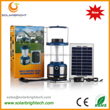 Solarbright emergency portable led rechargeable solar powered camping light with FM radio for the house solar lantern