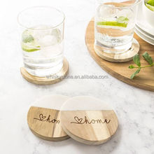 Set of 4 Stone Drink Coaster Cup Mat Half White & Half Ancient Wood Grain Splicing Marble Coasters