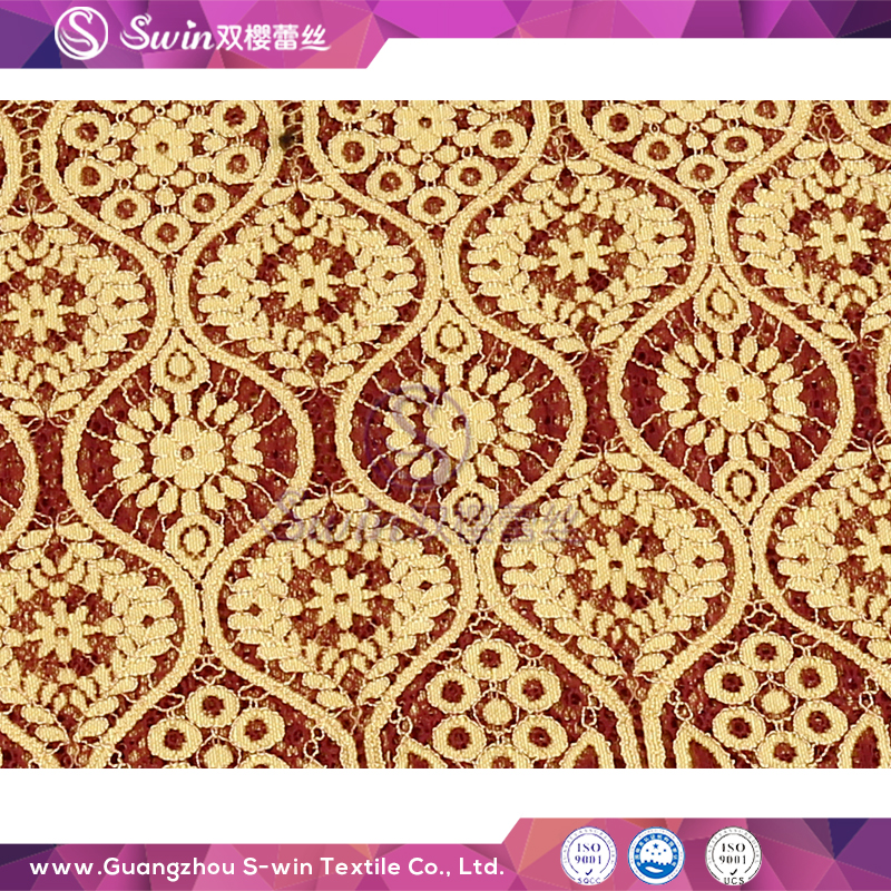 New Arrival Geometric lace Nylon Cotton Viscose Fabric Thick Woven Bag Package African Gold Lace Fabric
