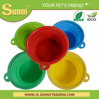 Pet travel bowl silicone foldable automatic feeder for cats