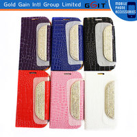 Luxury Metal Button Glitter Shinning Diamond Leather Case for Samsung I9300 S3 Diamond Case