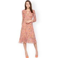 custom brand women long skirt cheap 3/4 sleeves floral print A-line latest design full dress