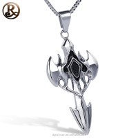 Hot sale punk sword shaped stainless steel cross pendant jewelry with blank and high polishing color