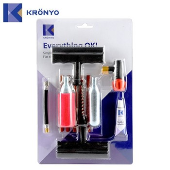 KRONYO electric kit gas cylinder Co2 tire repair tools kits