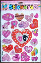 custom decorative love shape glitter spongy puffy sticker