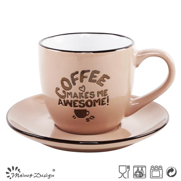 2017 design 3oz metal glaze coffee Cup and Saucer