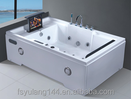 AD-664 Big sizes whirlpool indoor jacuzzy bathtub with TV and DVD 1200mm double bathtub