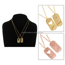Pendant Bff Necklace Set Friendship Dog Tag Heart Choose Color