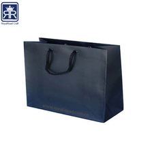 17112304 Wholesale Custom Logo printed black rope handle black matte paper shopping bag with hot foil