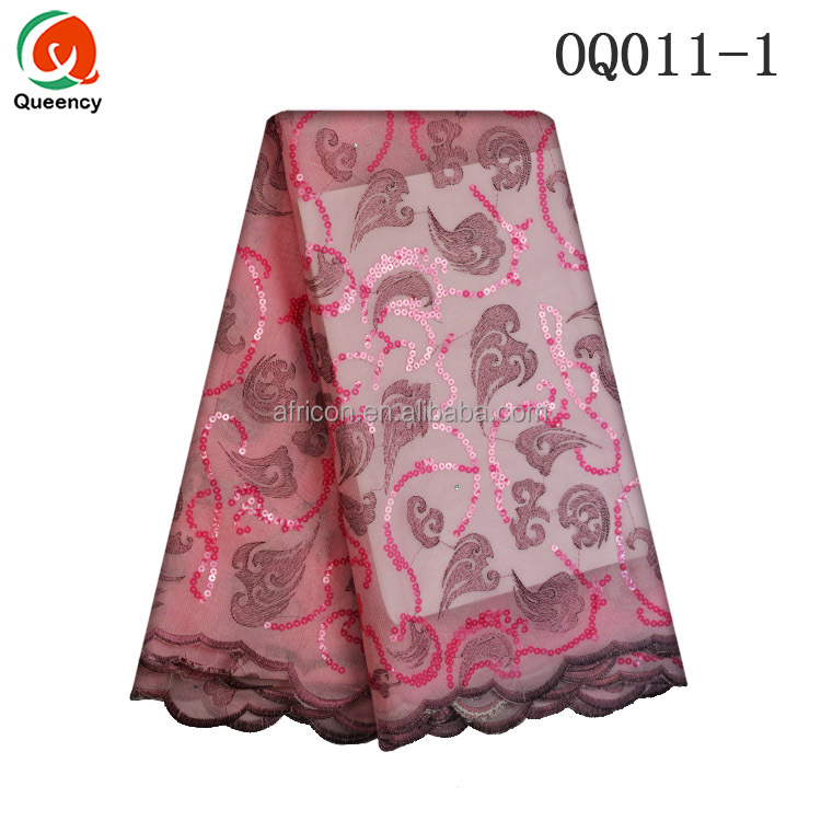 OQ011 Queency High Quality Nigerian Styles Swiss Double Organza Lace Fabric Material