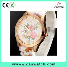 Hot fashion geneva elegant lady watch, water transfer rose print silicone band watch, gold-plated flowery face watch