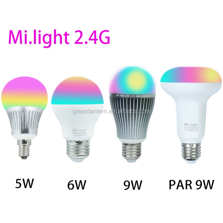 Milight Led Bulbs Dimmable E27 E14 5W 6W 9W PAR Wireless MiLight RGBW Led Bulbs 2.4G RGBWW RGBW Led Lamps AC110V 220V