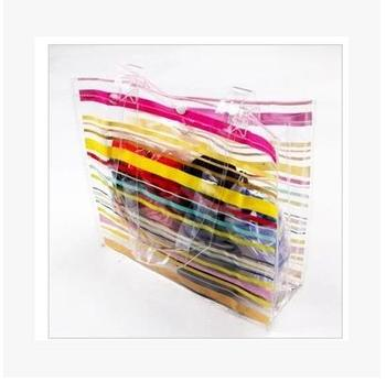 New Transparent Color Stripe Beach Bag Waterproof Bag Swimming Bag
