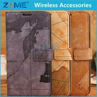 Pulchritude World Map Design Leather Case For Samsung S5 Hot Selling Case For Cell Phone Case