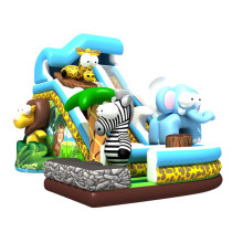 Pop cartoon animal kids elephant slide inflatable castle slide inflatable bouncer for sale