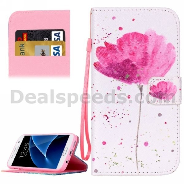 For Samsung Galaxy S7 Case Flower Pattern Horizontal Flip Leather Case with Holder & Card Slots & Wallet