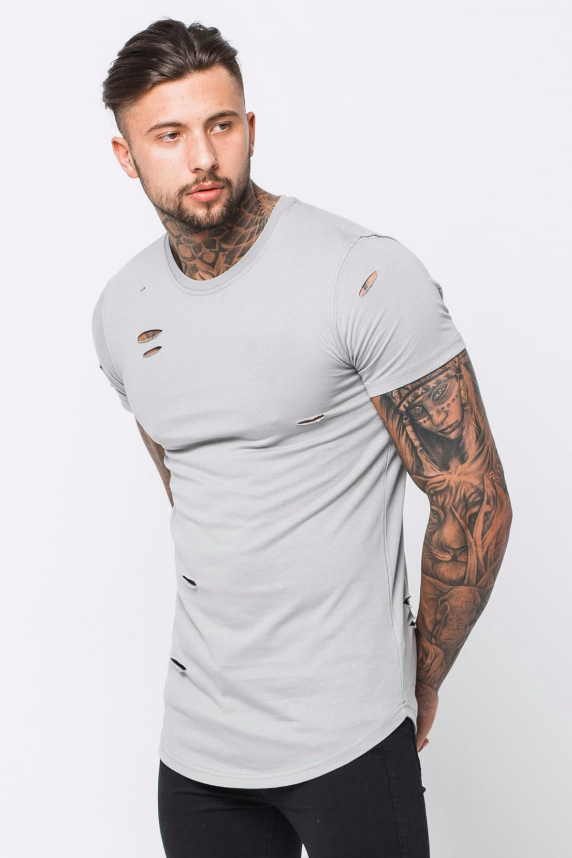 Organic Cotton T Shirt Urban Fashion Man Blank Distressed Shirts Tee Male Indonesia Slub Black Hitam M Shredded Slate P429 1713 Medium