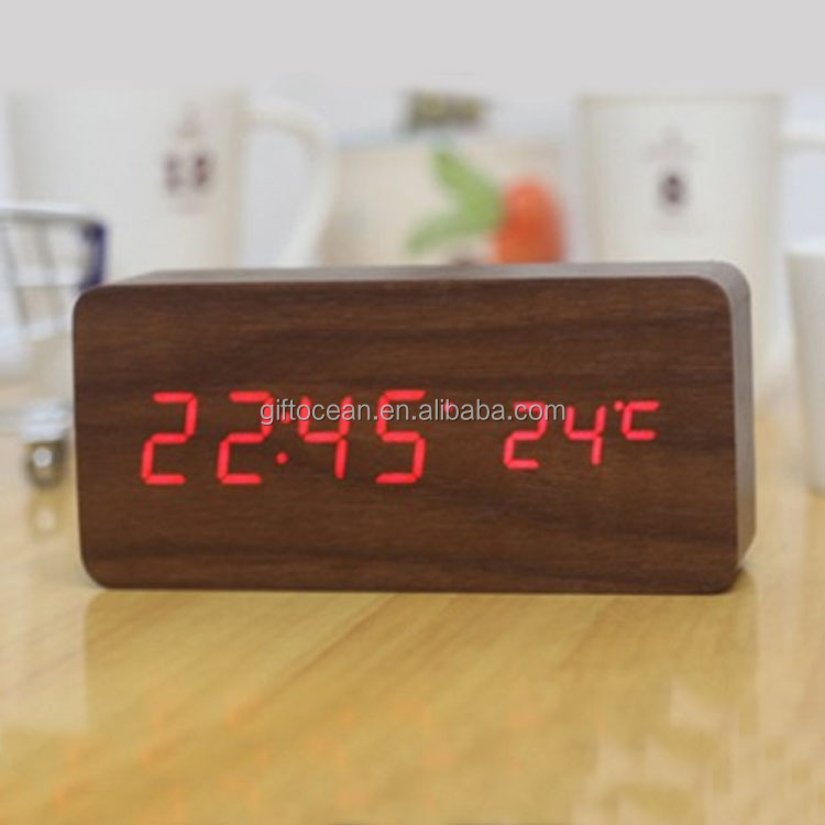 LED digital segments display wooden table <strong>date</strong> & temperature alarm clock