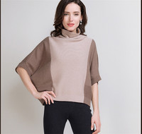 fashion women half batwing sleeve high neck cashmere blended pullover sweater