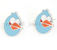 2013 fashion 316L stainless steel lovely blue bird shape stud earrings EAR-029