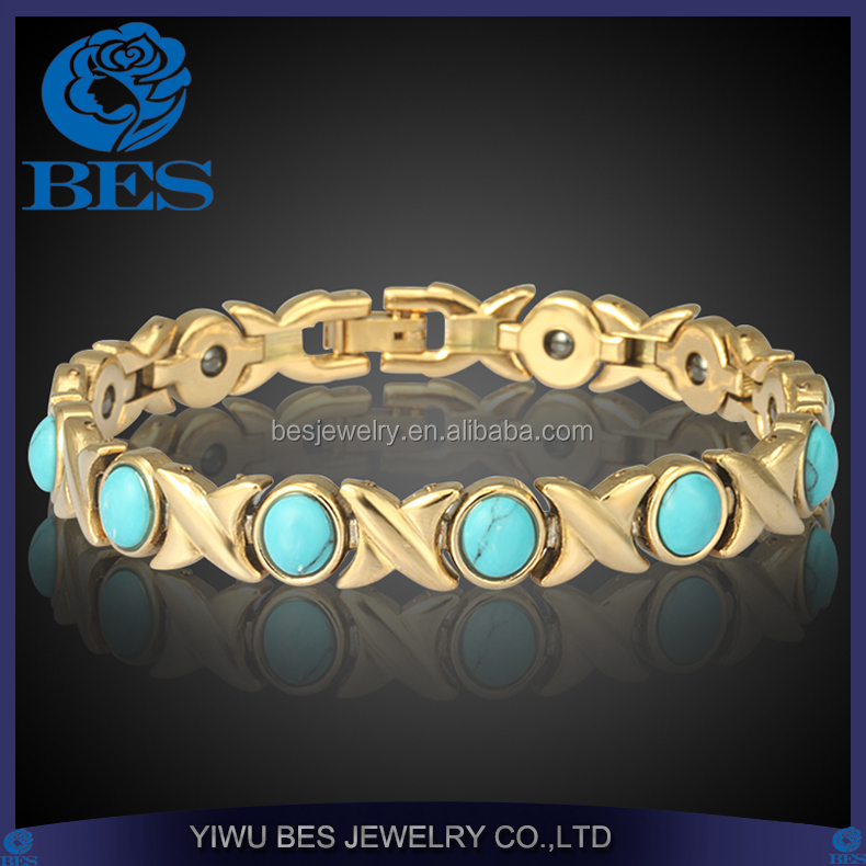 Alibaba Wholesale Energy Copper Health Magnetic Beautiful Turquoise Bracelet