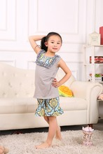 2016 summer design light gray tank top aqua short foral persnickety remake 95% cotton ruffled outfit baby girl clothes