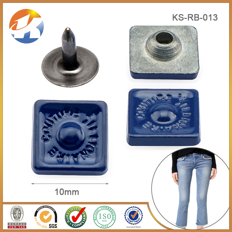 Square Style Blue Custom Metal Jeans Rivet Button