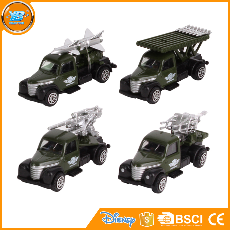 Yibao dark green 1:64 scale classic free wheel diecast military toy vehicle