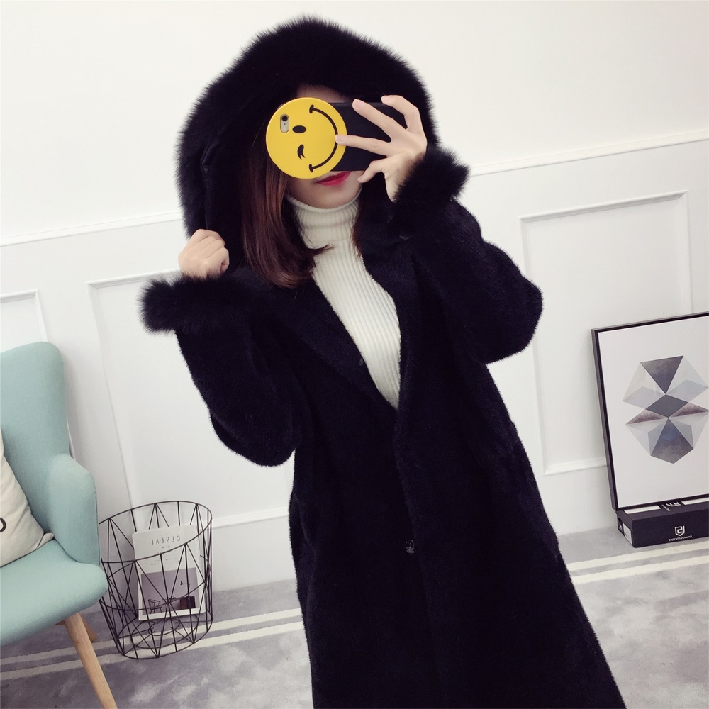 Fur-Lined Cuff Belt Lace Women Overcoat Wool Handmade Sweater Design For Girl Imitated Mink Cashmere Hooded Cardigan