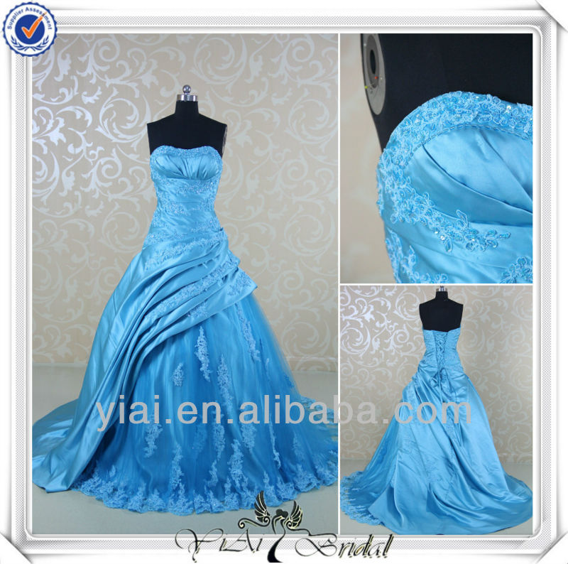 RSW534 Pleated Corset Pick Up Ball Gown Royal Blue Wedding Dresses