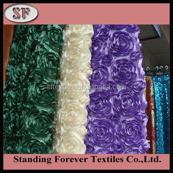 wedding and event 3D satin ribbon rosette embroidery fabric