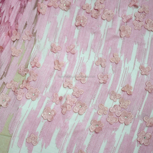 Lace dress fabric with stones embroidery lace fabric 3d fancy flower designs mesh fabric HY0389
