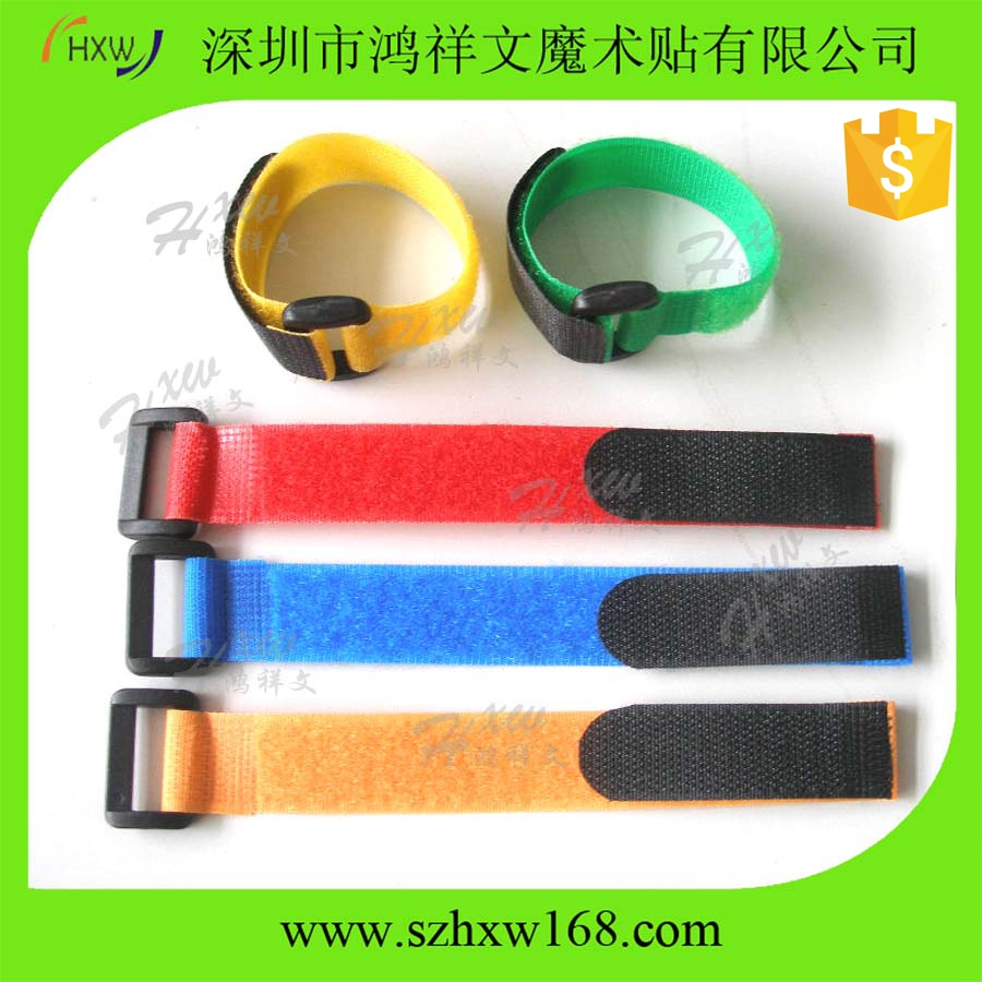 Custom adjustable plastic buckle hook and loop strap