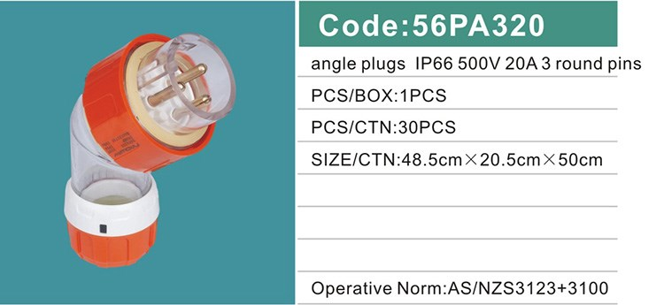 ip66 waterproof 500V 20A 3 round pins angle electrical plug