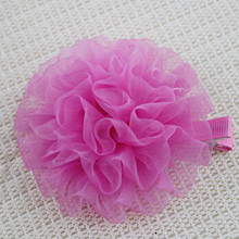 Baby Hair Accessories Pom Pom Flower Fabric Covered Alligator Clips
