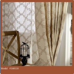 embroidery Material Of Readymade Curtain With Fancy Valance 2016 NEW