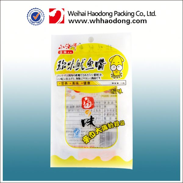 plastic pouch for frozen meat fish food packaging with zip nymaterial printed bag