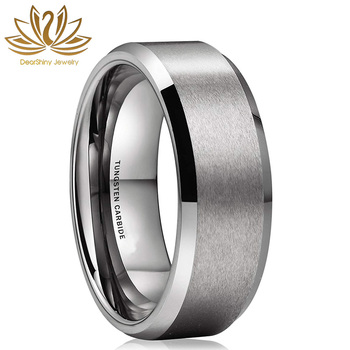 Rasoret Scratch-Resistant Classic  8mm Silver Tungsten Wedding Bands Beveled Edge Brushed Finish Comfort Fit  Customize Logo