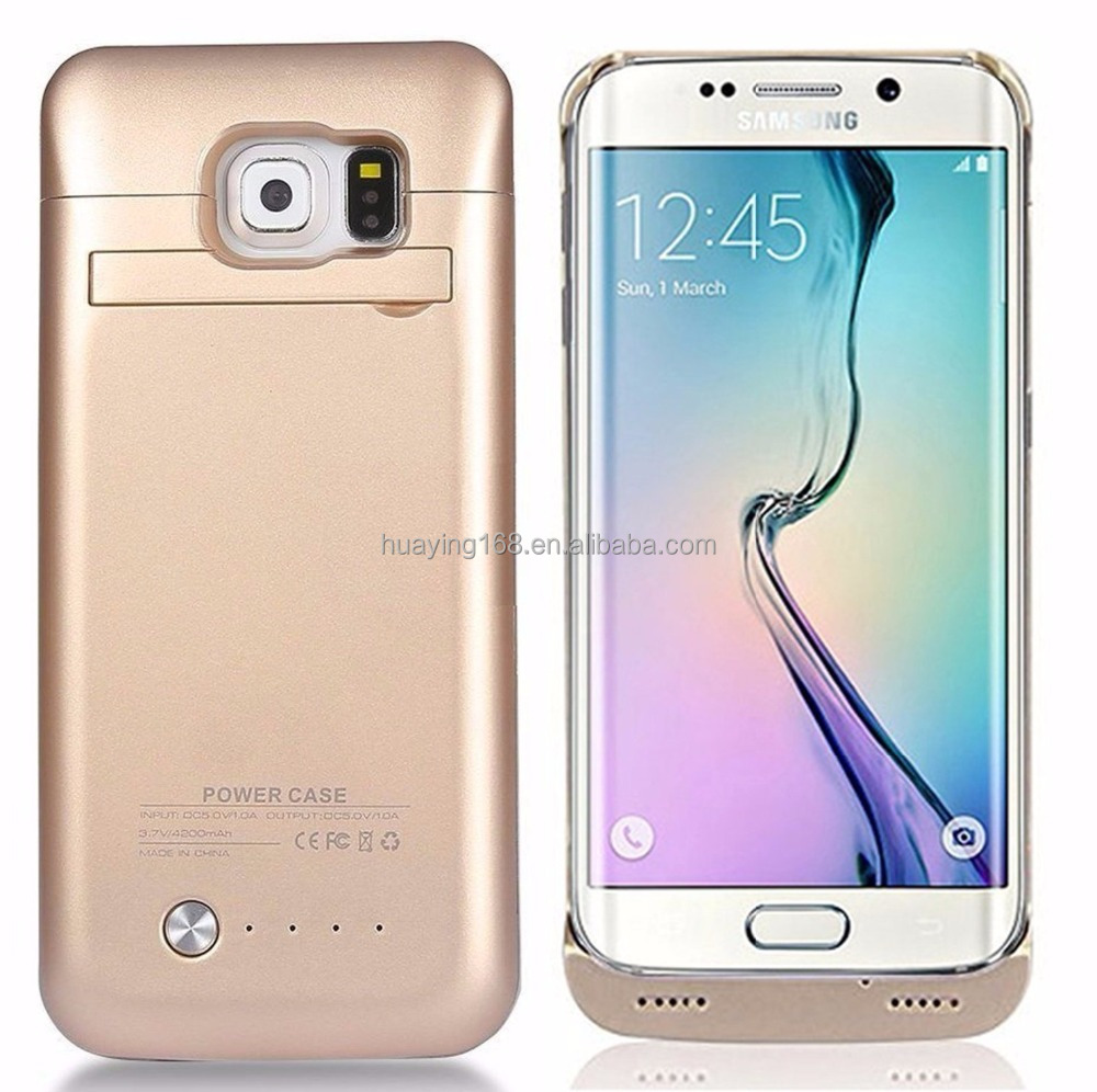 4200 mAh Portable External Backup Battery Charger Cover Case Pack for Samsung Galaxy S6 Edge(GOLD)