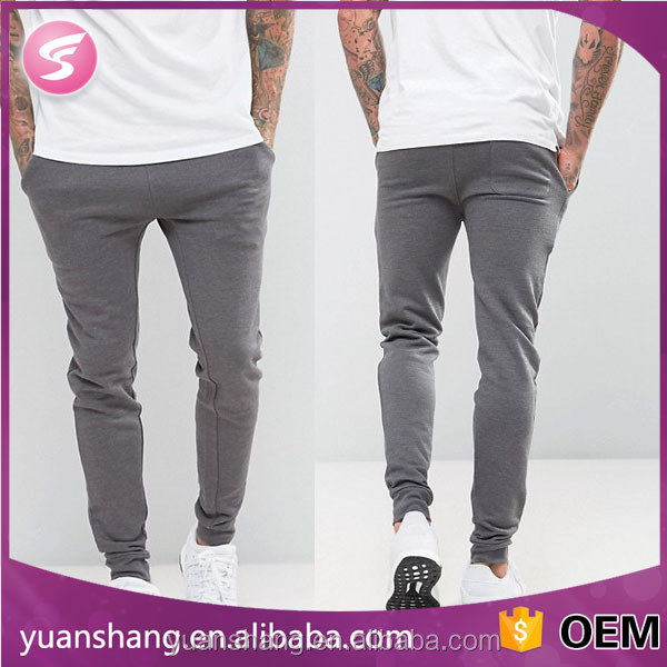 Super Skinny Slim Fit Men's Fitness Joggers In Charcoal Marl