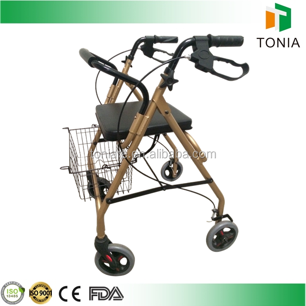 Aluminum Rollator walking aids for disabled made by rollator manufacturers