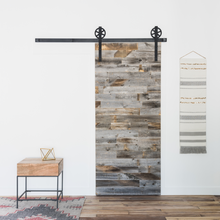 Cutom white oak old finished rustic sliding entry barn door / antique horizontal wood bar barn door