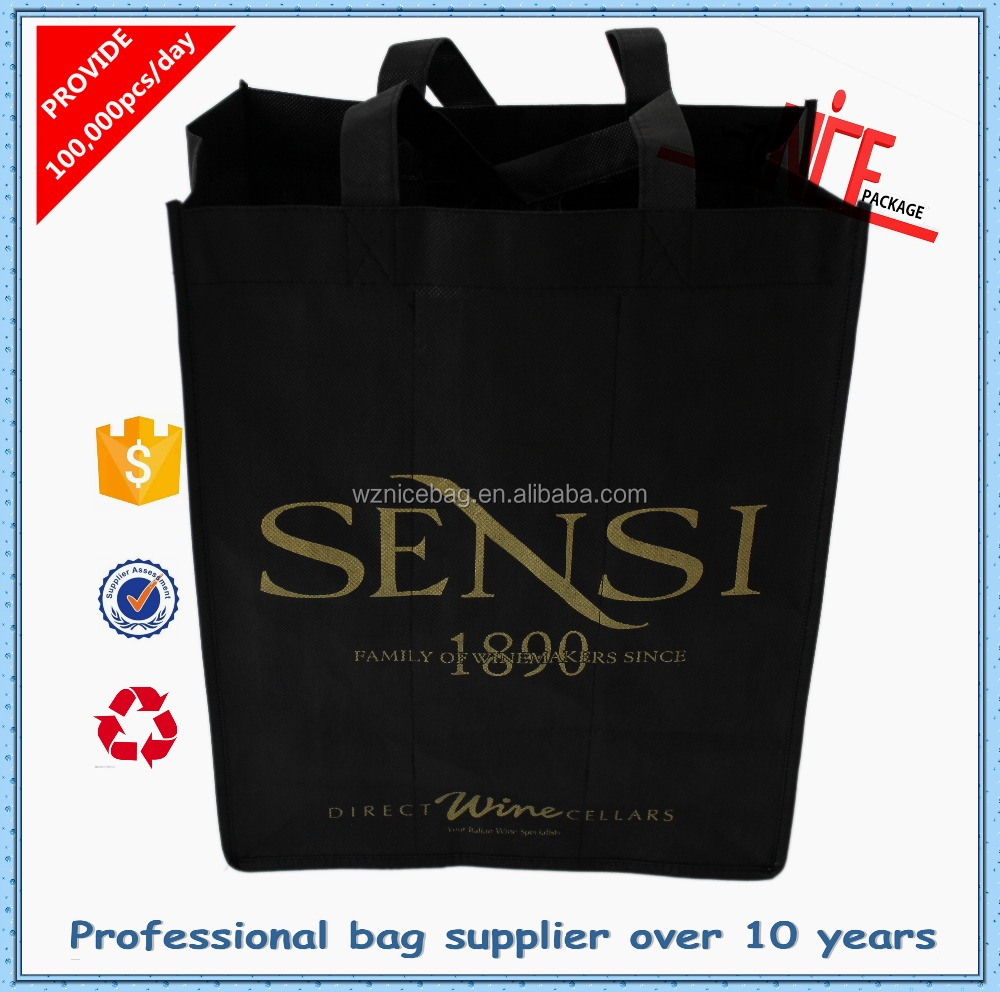 2015 Hot sale non woven wine bottle carry bags
